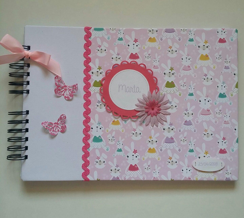 Lbum de fotos personalizado para noa y marta en tonos rosas - Album de fotos personalizado ...